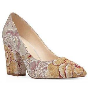 Nine West Embroidered Floral Block Heels